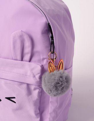 Брелок на сумку у вигляді хутряної кульки з голографічними вушками | 239263-29-XX