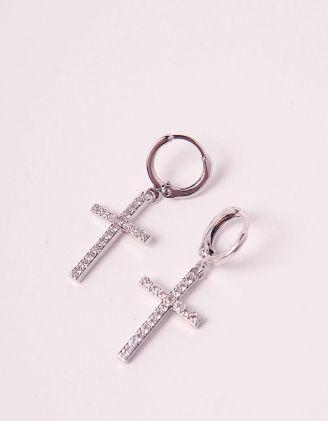 Сережки  з хрестами у стразах | 244680-06-XX - A-SHOP