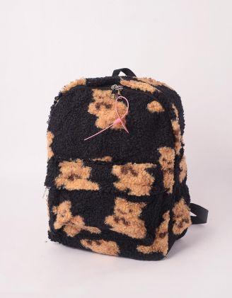 Рюкзак хутряний із зображенням ведмедиків | 246023-02-XX - A-SHOP