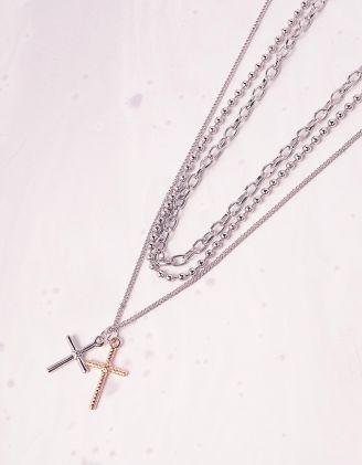 Підвіска на шию із ланцюжків з хрестиками   242122-05-XX - A-SHOP