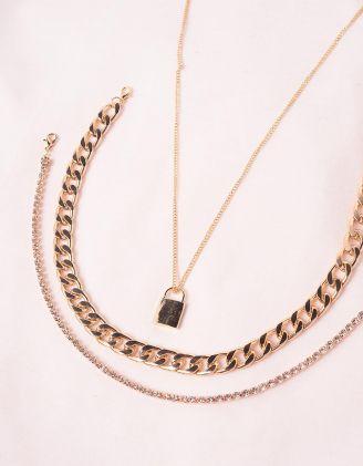 Підвіска на шию багатошарова із ланцюжків з кулоном у вигляді замка | 246223-08-XX - A-SHOP