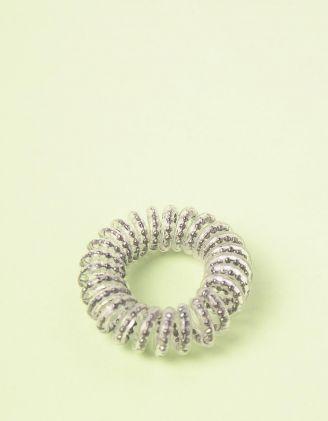 Резинка для волосся спіральна прозора з намистинами | 240278-28-XX - A-SHOP