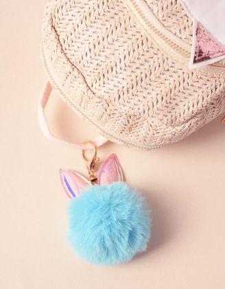 Брелок на сумку у вигляді хутряної кульки з голографічними вушками | 239263-18-XX