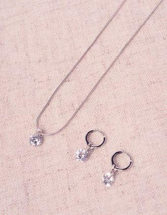 Підвіска з кристалом у комплекті із сережками кільцями | 244676-06-XX - A-SHOP