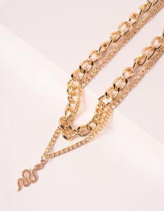 Підвіска на шию із ланцюга багатошарова з кулоном у вигляді змії | 248714-04-XX - A-SHOP