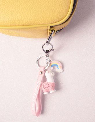 Брелок на сумку у вигляді альпака з веселкою | 239918-14-XX