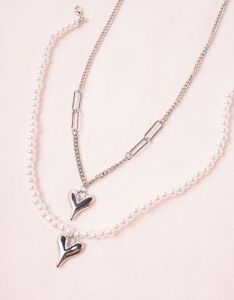 Підвіска на шию подвійна із перлин з кулонами у вигляді серця | 249213-06-XX - A-SHOP