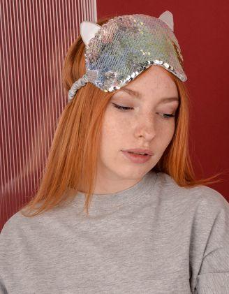 Пов'язка для сна у вигляді кицьки з паєток | 238617-21-XX - A-SHOP