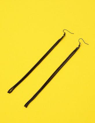 Сережки довгі подвійні інкрустовані стразами | 235968-02-XX - A-SHOP