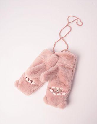 Рукавиці хутряні з ведмедиком | 245160-14-XX - A-SHOP
