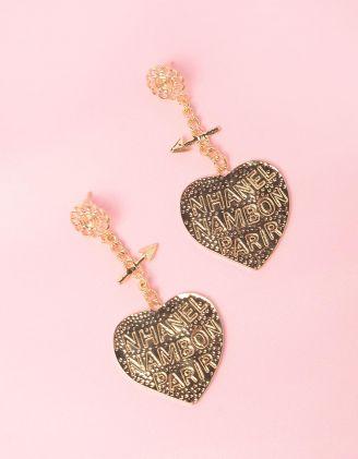 Сережки довгі з написами на серцях | 249214-04-XX - A-SHOP
