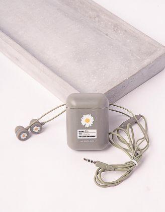 Навушники з принтом ромашки | 243944-11-XX - A-SHOP