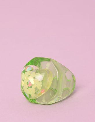 Кільце з пластику широке з серцями | 249710-37-36 - A-SHOP