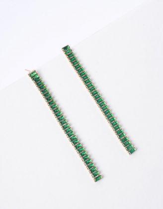Сережки подовжені зі стразами | 250965-57-XX - A-SHOP