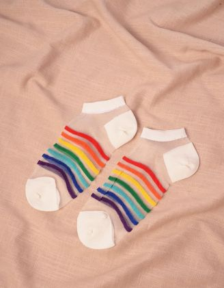Шкарпетки прозорі у смужку | 244209-01-XX - A-SHOP