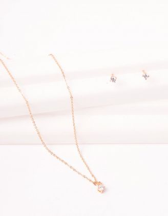 Комплект із підвіски та сережок пусетів зі стразами | 247100-08-XX - A-SHOP