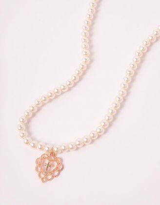 Підвіска на шию із перлин з хрестом у серці | 244073-08-XX - A-SHOP