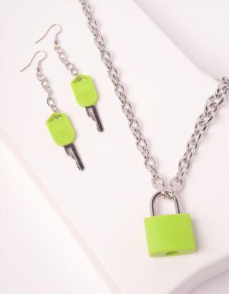 Комплект із підвіски та сережок із ланцюжків з кулонами у вигляді замка та ключів | 244244-37-XX - A-SHOP