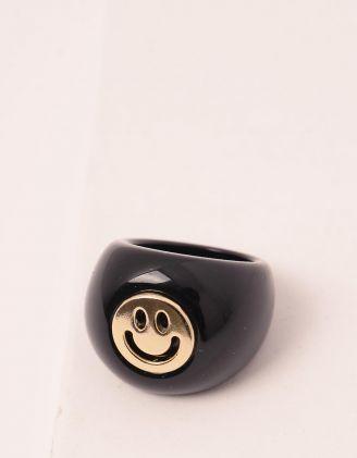 Кільце об'ємне із пластику зі смайликом | 249717-02-38 - A-SHOP