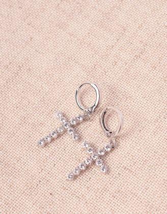 Сережки маленькі з хрестиками у стразах | 244959-06-XX - A-SHOP