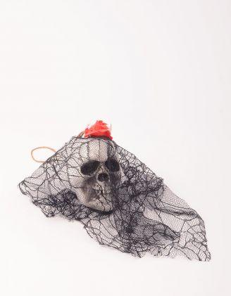 Декор на хеллоуїн у вигляді черепа з фатою | 248753-02-XX - A-SHOP