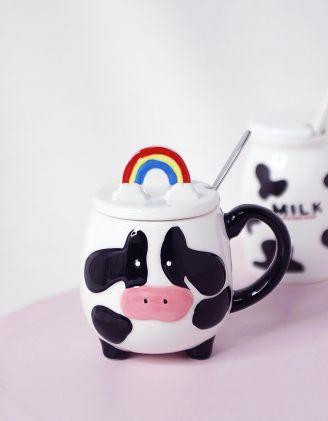Чашка з ложкою та зображенням корівки | 243672-01-XX - A-SHOP
