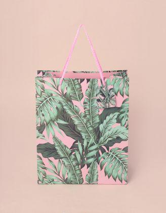 Пакет подарунковий з малюнком листя | 240816-14-XX - A-SHOP