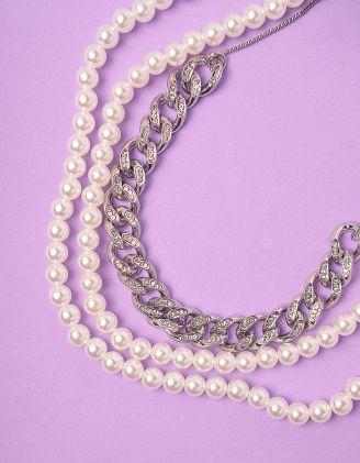 Підвіска намисто багатошарова із ланцюга у стразах та перлин | 247282-06-XX - A-SHOP