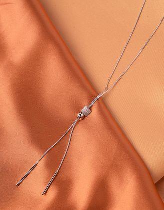 Підвіска на шию довга з намистиною інкрустована стразами | 240019-06-XX - A-SHOP