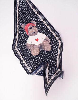 Хустка твіллі з принтом ведмедика | 244639-02-XX - A-SHOP
