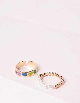 Кільця у наборі 2шт із намистин та перлин з принтом сердець | 247009-08-XX - A-SHOP