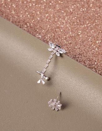 Сережки у вигляді бабки та квітки | 240994-06-XX - A-SHOP