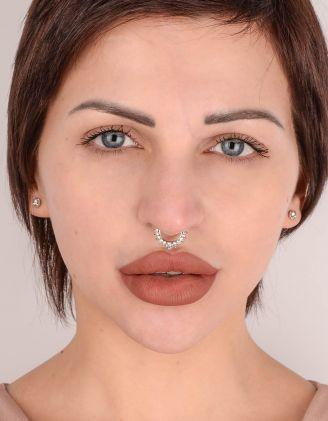 Сережка у ніс септум з камінцями | 213892-06-XX - A-SHOP