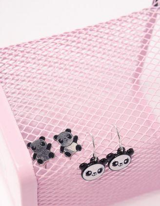 Сережки пусети з пандами | 243210-02-XX - A-SHOP