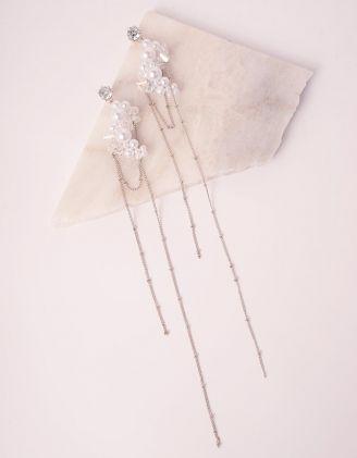 Сережки довгі із ланцюжків з  перлинами | 249211-06-XX - A-SHOP