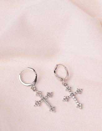 Сережки з хрестами у стразах | 246876-06-XX - A-SHOP
