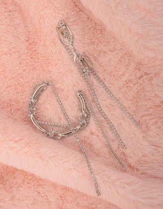 Сережки кільця декоровані ланцюжками зі страз | 249224-06-XX - A-SHOP