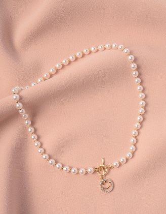 Намисто із перлин з кулоном у вигляді смайлика | 248599-08-XX - A-SHOP