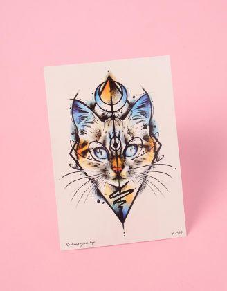 Тату на тіло тимчасове із зображенням кішки | 239055-21-XX - A-SHOP