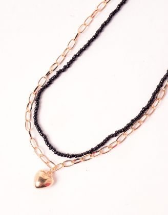 Підвіска на шию подвійна із ланцюжка та бісеру з кулоном у вигляді серця | 248715-09-XX - A-SHOP