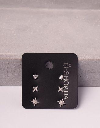 Сережки пусети у наборі у вигляді зірок зі стразами | 246129-06-XX - A-SHOP