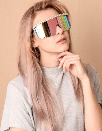 Окуляри маска дзеркальні з камінцями | 239835-21-XX - A-SHOP