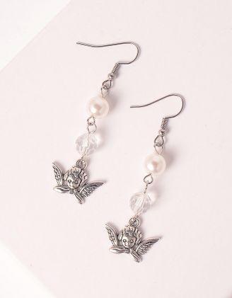 Сережки у вигляді янголів з перлинами | 247708-06-XX - A-SHOP