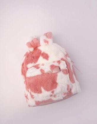 Рюкзак для прогулянок хутряний з вушками та принтом корівки | 244942-14-XX - A-SHOP