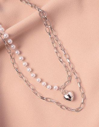 Підвіска на шию подвійна із ланцюжка та перлин з кулоном у вигляді серця | 248716-06-XX - A-SHOP