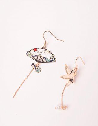 Сережки подовжені у вигляді віяла та журавля | 243596-21-XX - A-SHOP
