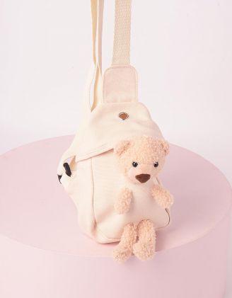 Сумка на плече з ведмедиком у кишені | 246029-40-XX - A-SHOP