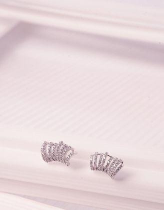 Сережки з пусетами декоровані кристалами | 241422-06-XX - A-SHOP