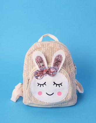 Рюкзак невеликий плетений з зайчиком | 239319-22-XX - A-SHOP