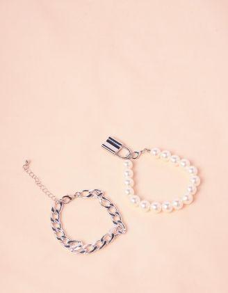 Браслет на руку подвійний із ланцюга та перлин з замком | 245135-06-XX - A-SHOP